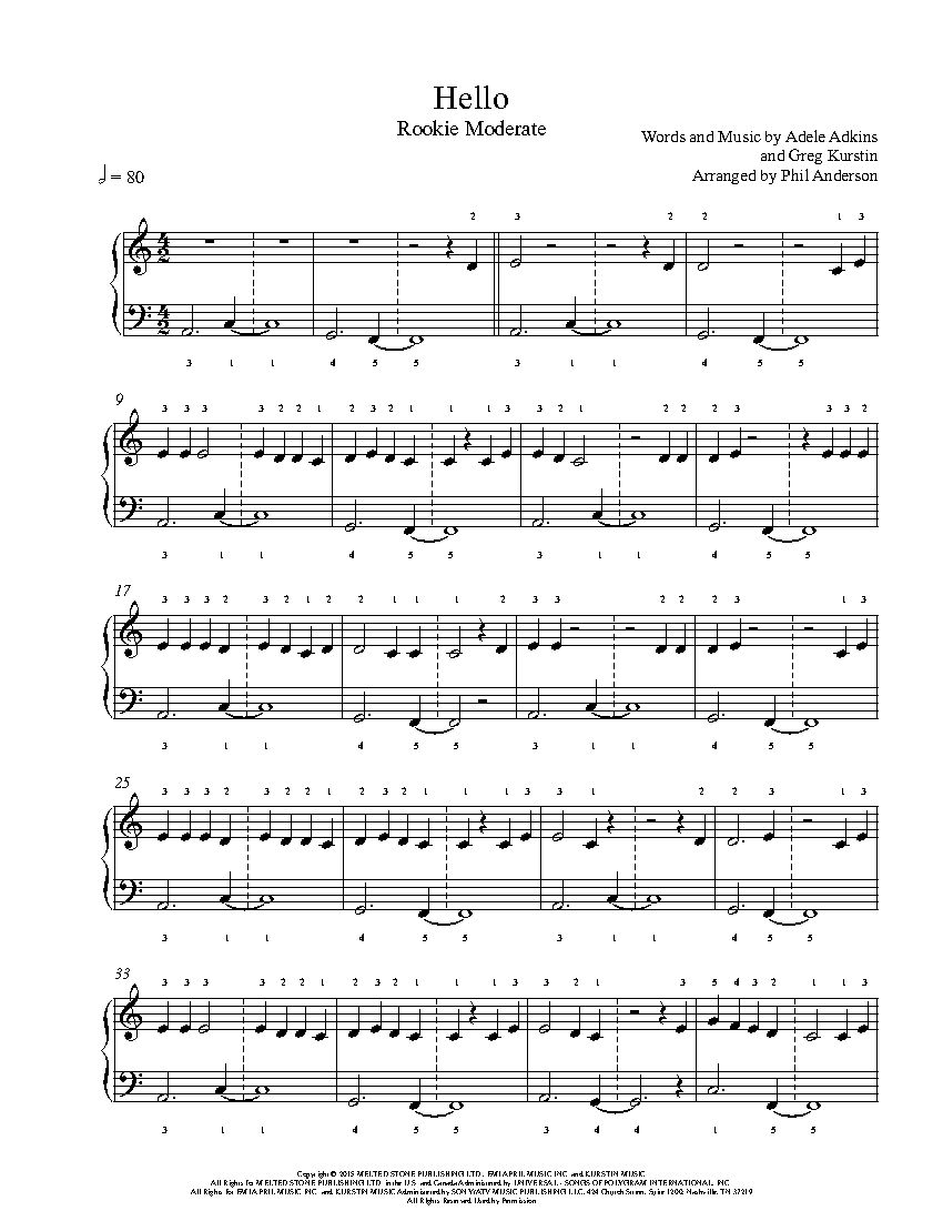 Hello By Adele Piano Sheet Music Rookie Level Piano Music