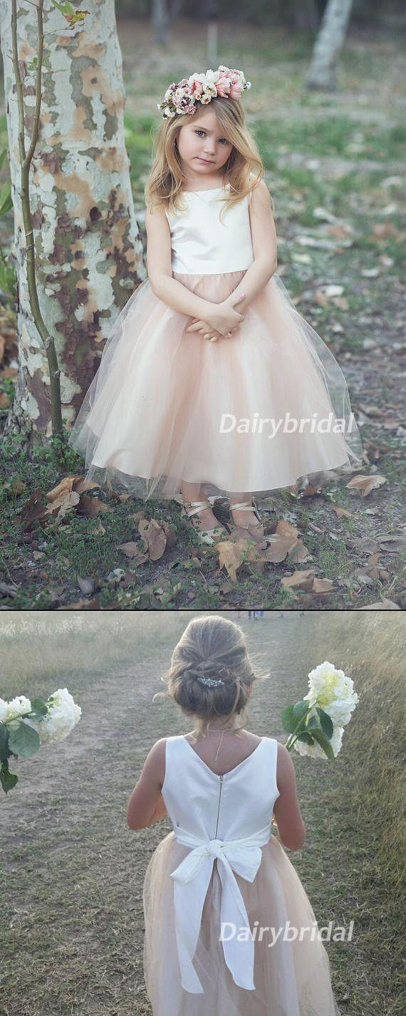 Girls wedding dress  Satin Top Tulle Sleeveless Flower Girl Dresses Lovely Tutu Dresses