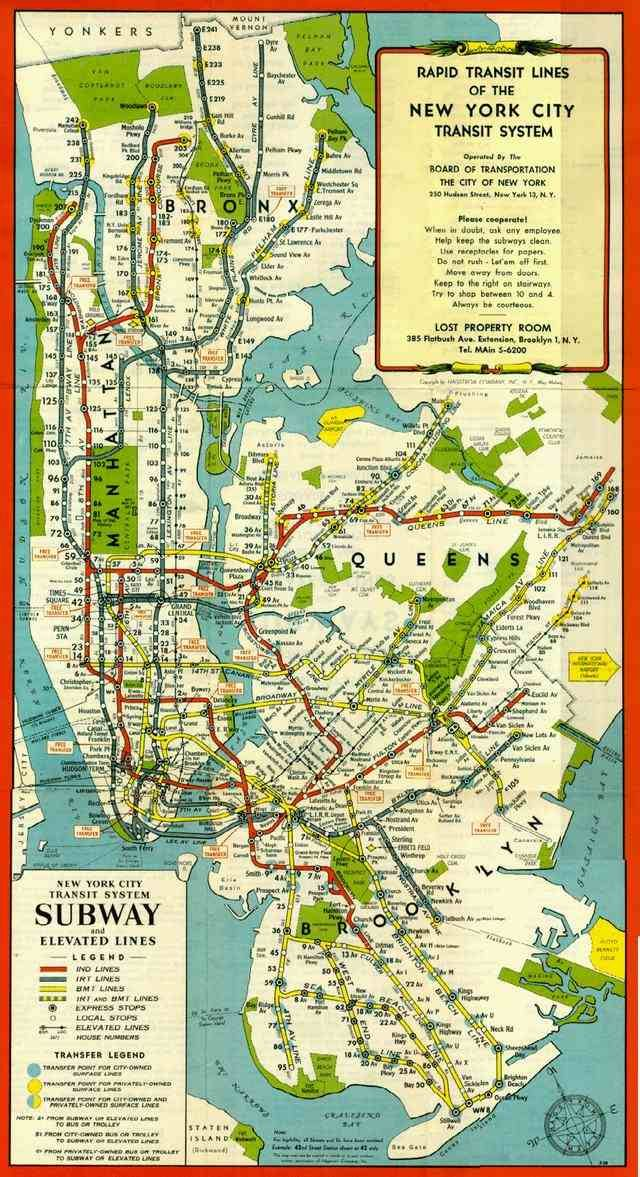 1948 new york city subway map five old subway maps worthy of framing gothamist