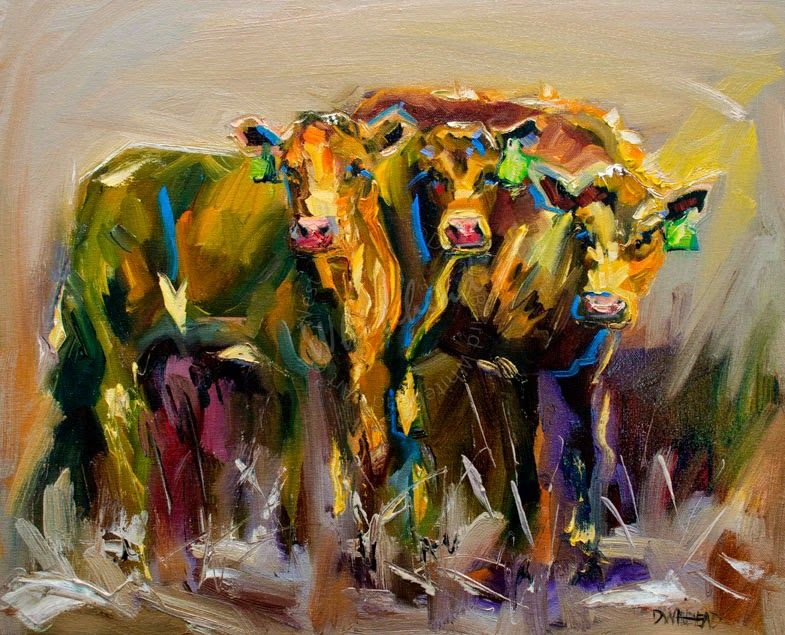 Diane Whitehead Canvas Prints Artoutwest Calves Cow Animal Art By Diane Whitehead