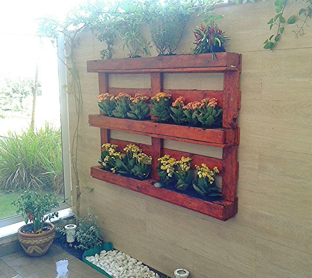 Adesivo Para Box De Banheiro ~ Horta Vertical feita em pallet 6 espaços independentes parados para colocar sua plantinha de