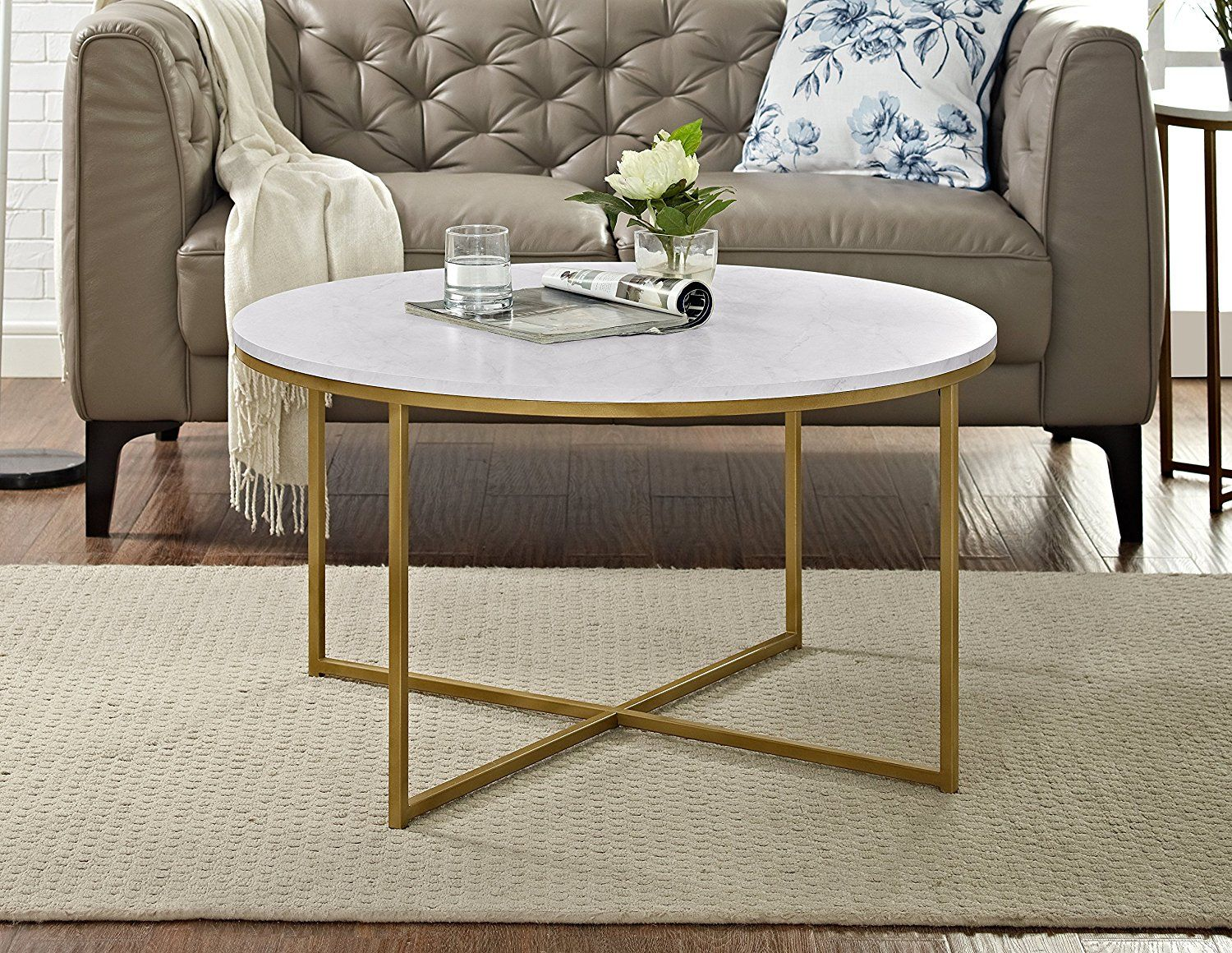 Amazon Com We Furniture 36 Quot Coffee Table With X Base Marble X2f Gold Kitchen Amp Dining Coffee Table Round Gold Coffee Table Glam Coffee Table [ 1160 x 1500 Pixel ]