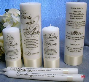 unity candle and memorial set