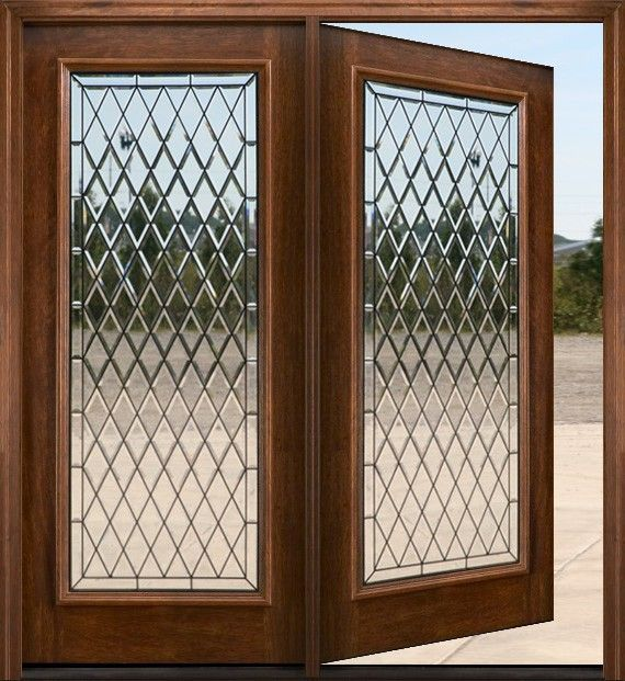 Beautiful French Door. Dimond Glass On French Door. Can You Imagine This  Wood Double