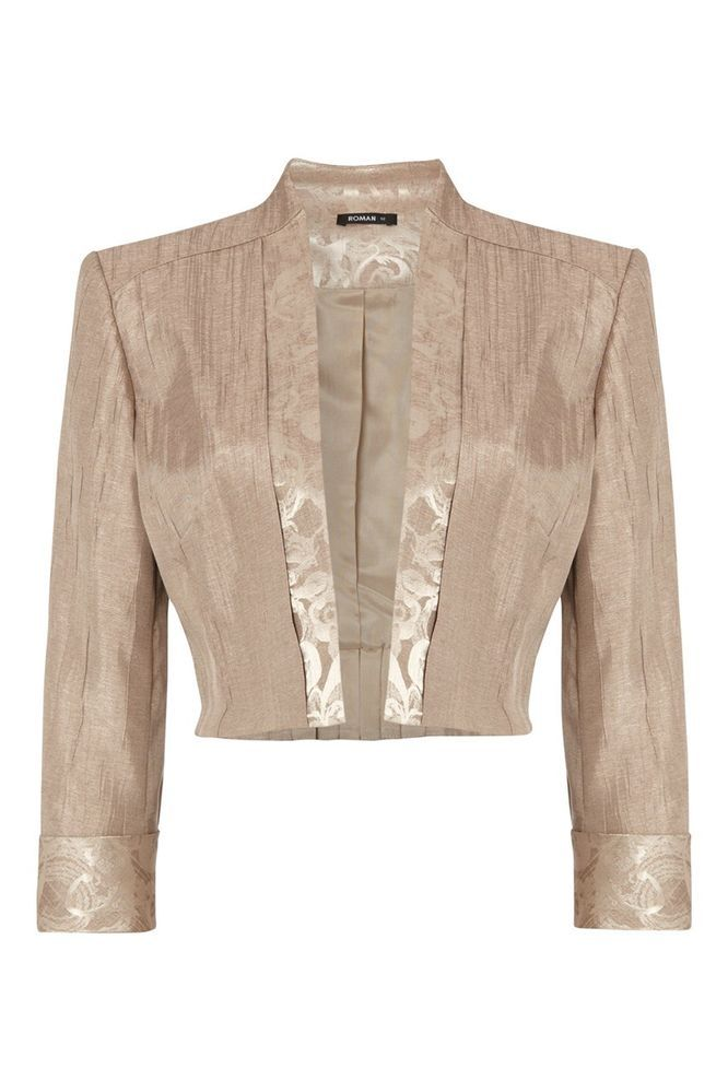 Womens Cropped Bolero Jacket Wedding Evening Mother Of The Bride Ladies Beige Fall Wedding Outfits Winter Coats Women Clothes