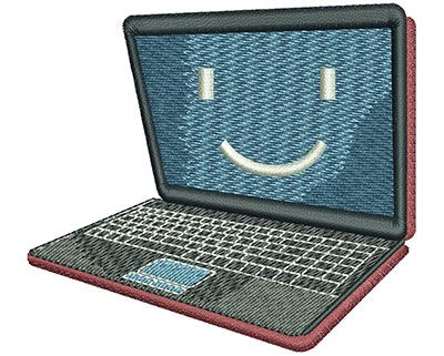 Laptop Computer Smile Machine Embroidery Design Or Pattern