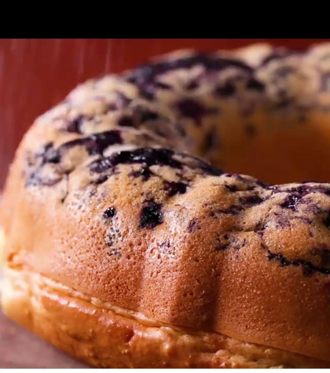 Bundt Pan Pancake Blueberries Bottom With Pancake Batter Bake 350