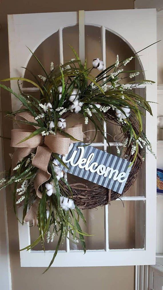 Photo of Blossom/Cotton Boll Wreath, Natural Cotton Bolls, Wedding Wreath, 2nd Anniversary Gift, Farmhouse Decor, Burlap Bow, Country Primitive Decor
