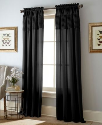 Landford 54 X 84 Rod Pocket Single Curtain Panel Black With