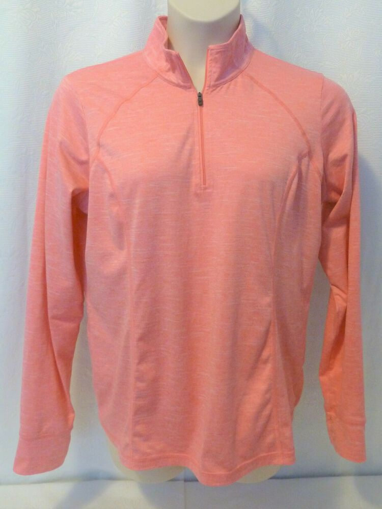 M Ladies Xersion Black /& Pink Stripe Long Sleeve 1//2 Zip Athletic Top Size S L