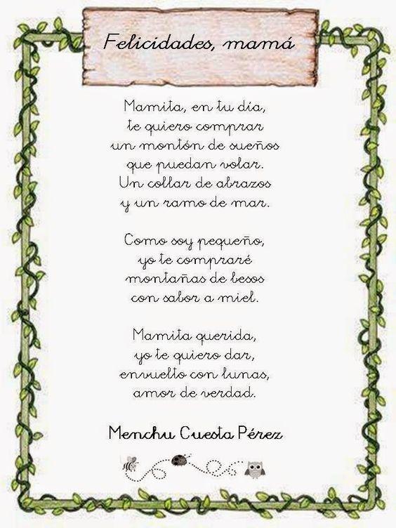 Poemas Canciones Para El Dia De La Madre Para Niños Poema Dia De La Madre De Menchu Cuesta Perez Dia De Las Madres