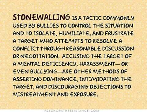 Stonewalling narcissism