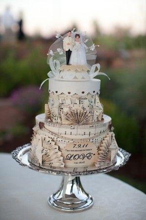 Real weddings lindsey jeremy paper cake cake and music cakes real weddings lindsey jeremy music wedding cakesvintage junglespirit Images