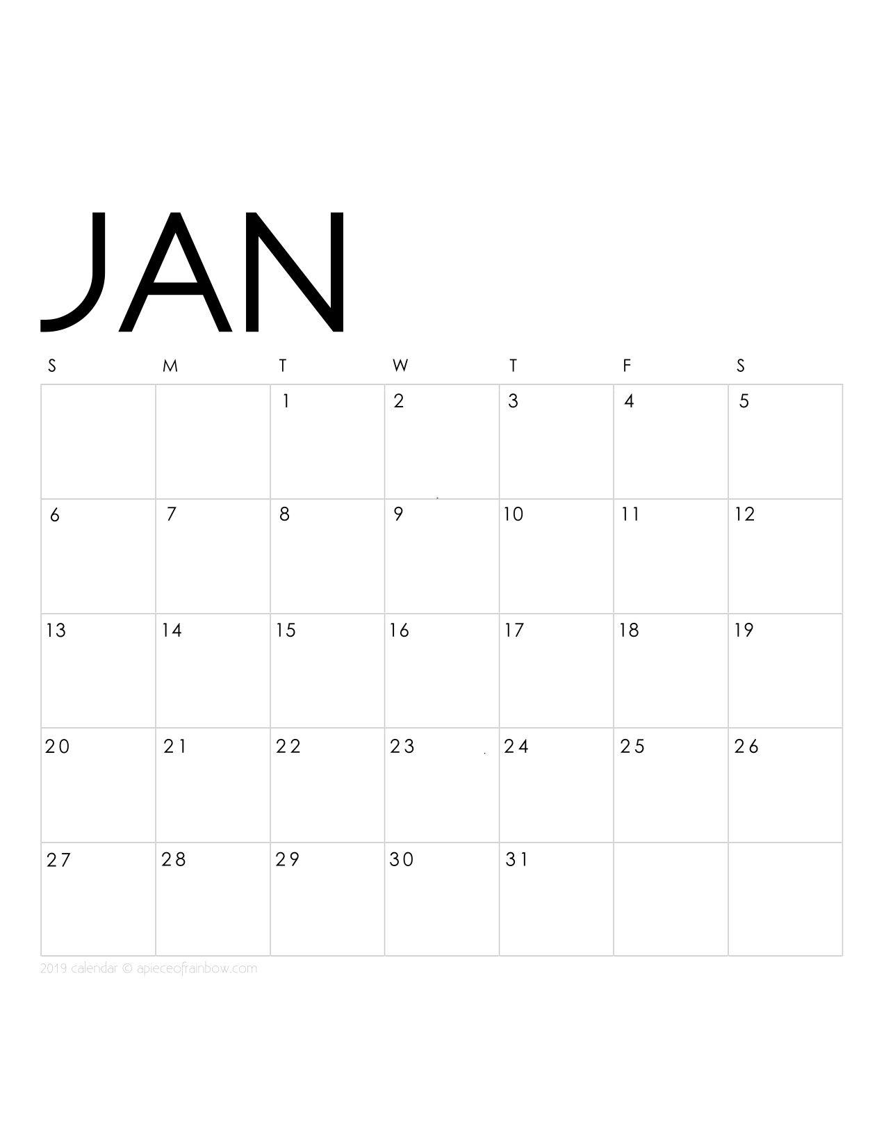 Printable January Calendar Monthly Planner 2 Designs Flowers Amp Modern