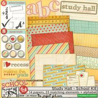 DigiKit - Study Hall - full kit By Jen Allyson      going back to school has never been so good looking! This kit is packed with 14 papers, 8 epoxy brads, 6 stamps, 4 titles, 3 journal cards, 2 rub-ons, & 1 alphabet. All files are 300 DPI.