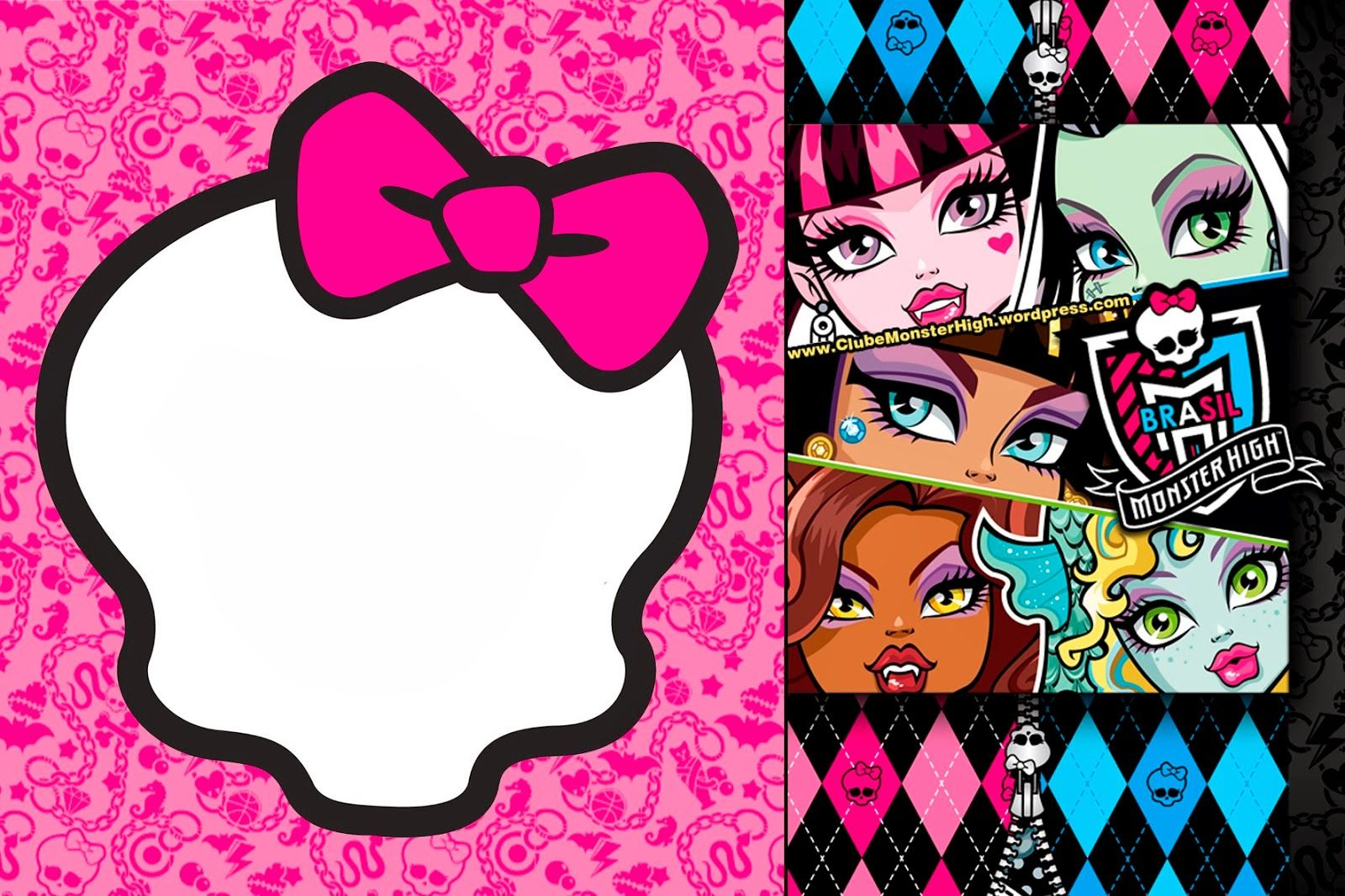 graphic relating to Free Printable Monster High Invitations identified as Monster Large: Invites and Celebration No cost Printables