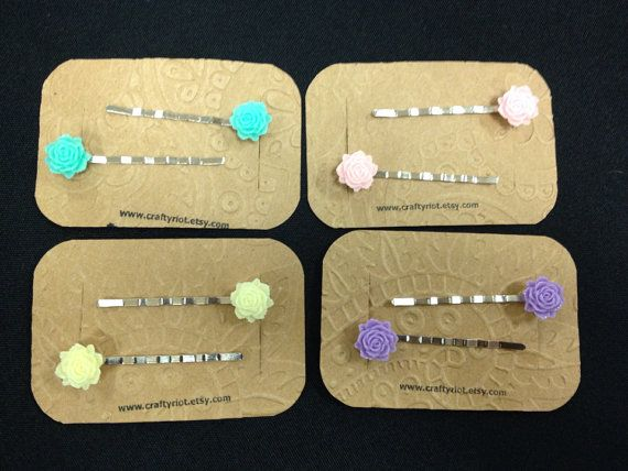 Flower Bobby Pin Set - Pick Your Color on Etsy, $4.00