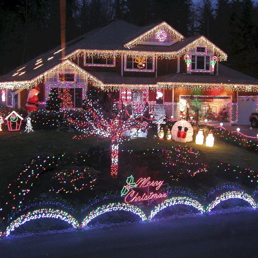 35 Stunning Christmas Lights Decor Ideas On House Exterior Outdoor Christmas Light Displays Christmas House Lights Christmas Lights Outside