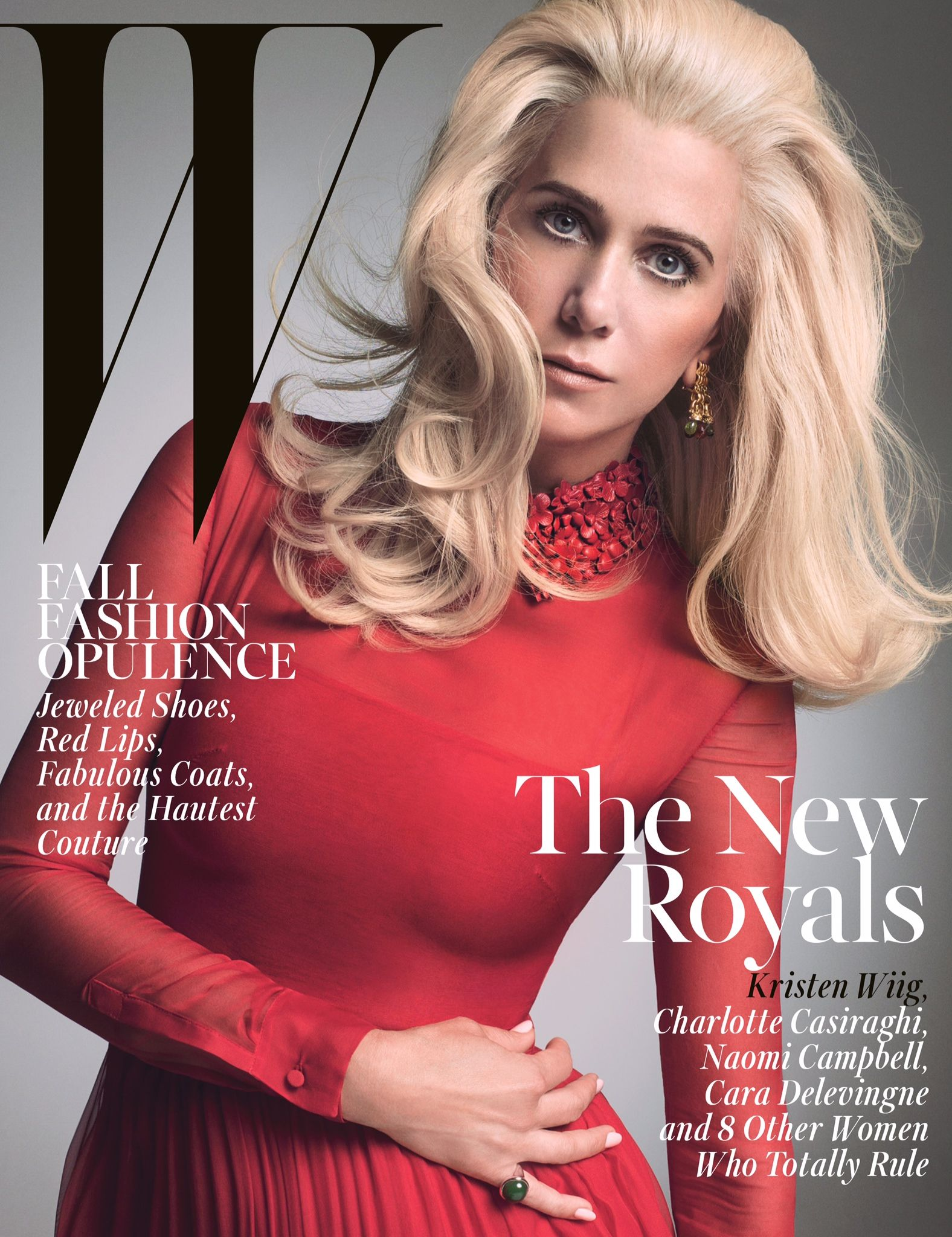 "W Magazine - October 2014 - ""the New Royals"" - Kristen Wiig. ~Lookin like Kristen Lannister, the first of her name~ #colourschemes #colours #angles"