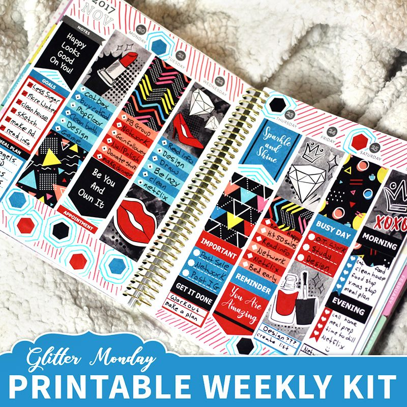 Glitter Monday selling printable digital planner stickers