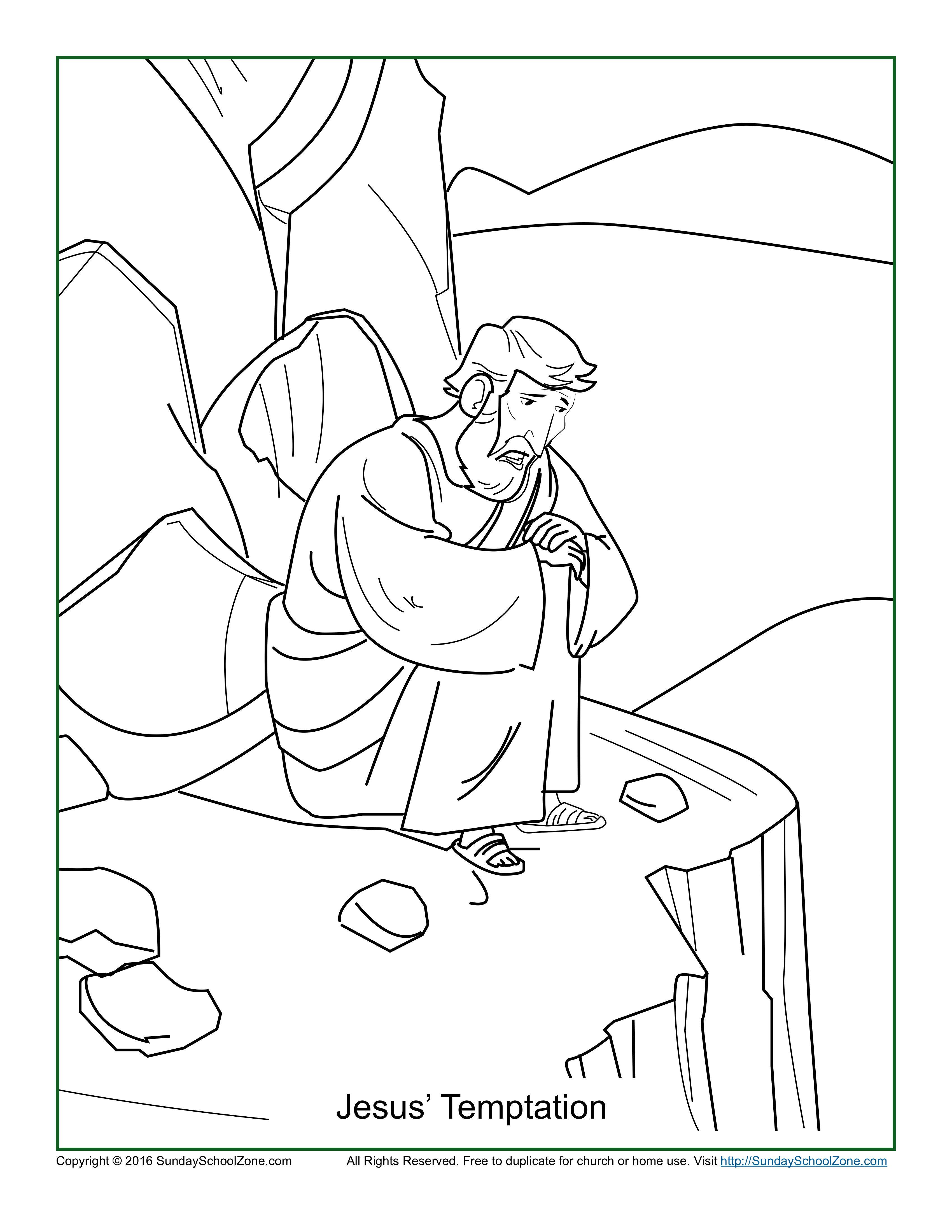 Jesus Temptation Coloring Page Pages Jesus Coloring Pages Childrens Bible Activities Bible Coloring Pages