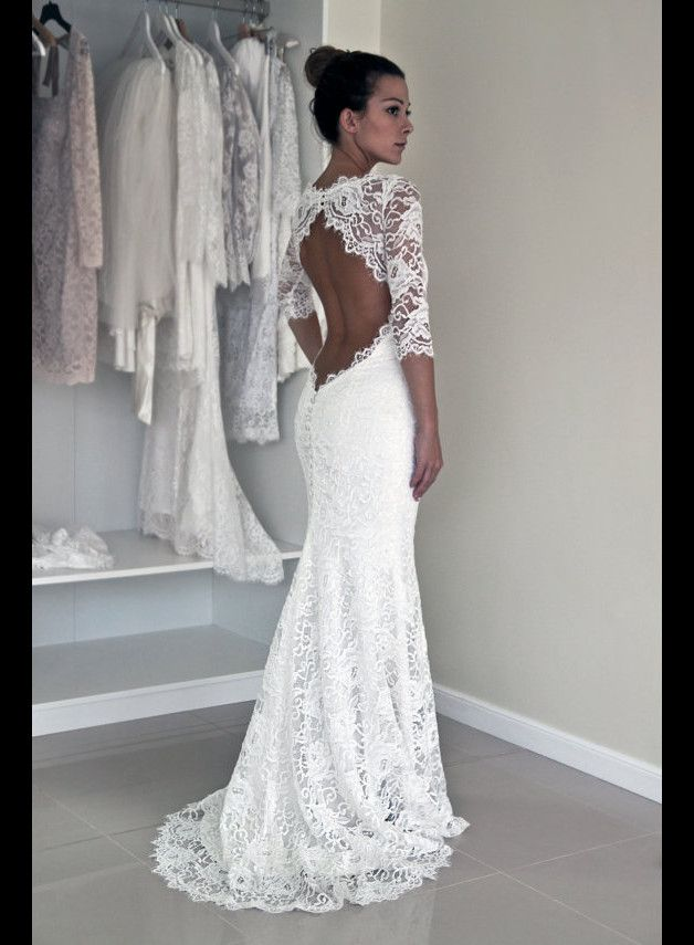 Mermaid Spitze Rückenfrei Brautkleid mit Halbarm | Wedding and Weddings