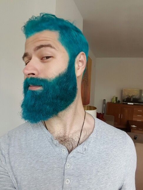 Dyed blue turquoise beard | Mens colored hair | Pinterest | Hair ...