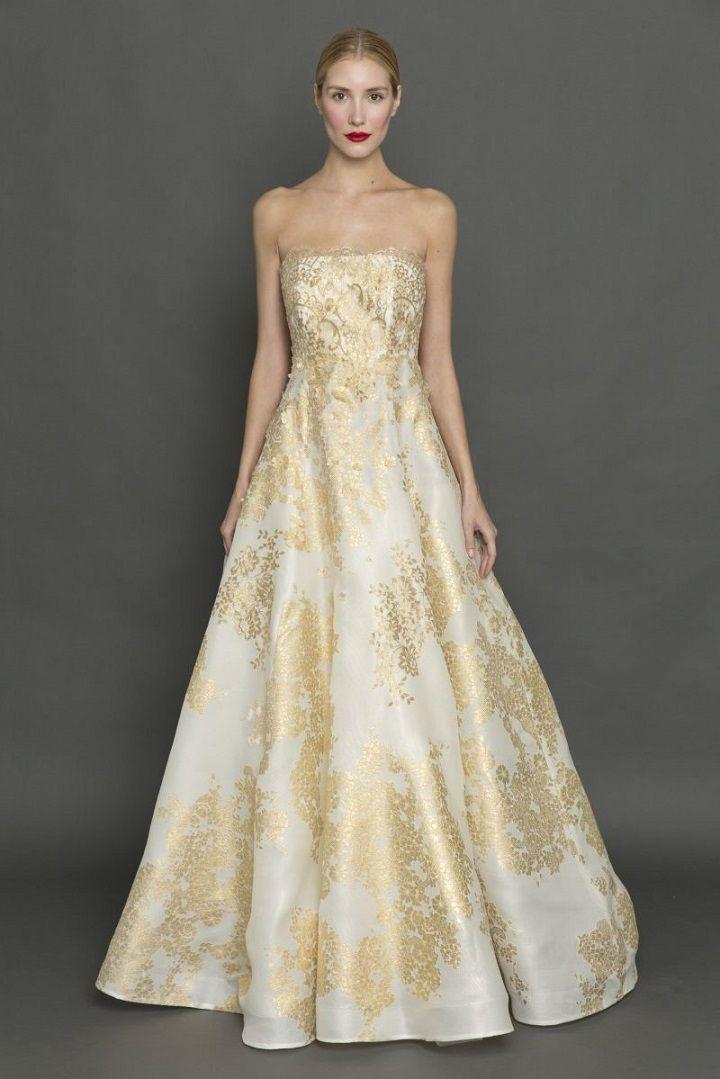 Francesca Miranda strapless gold and white wedding dress | itakeyou.co.uk #weddingdress #weddingdresses #strapless #bride #bridalgown #weddinggown #weddinggowns