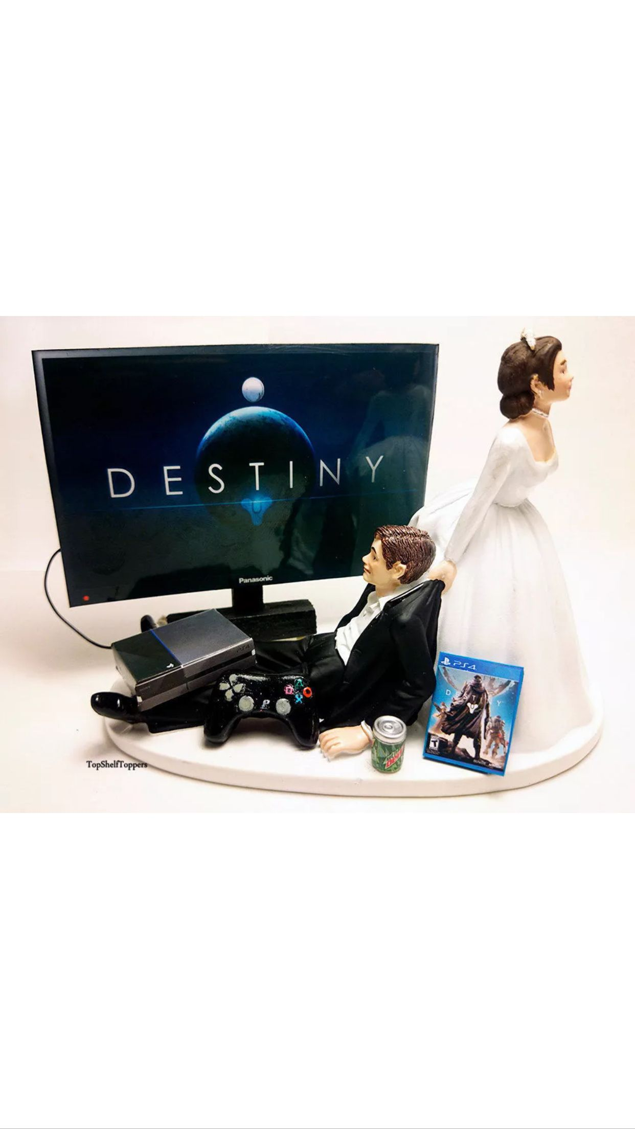 Destiny gamer wedding cake topper