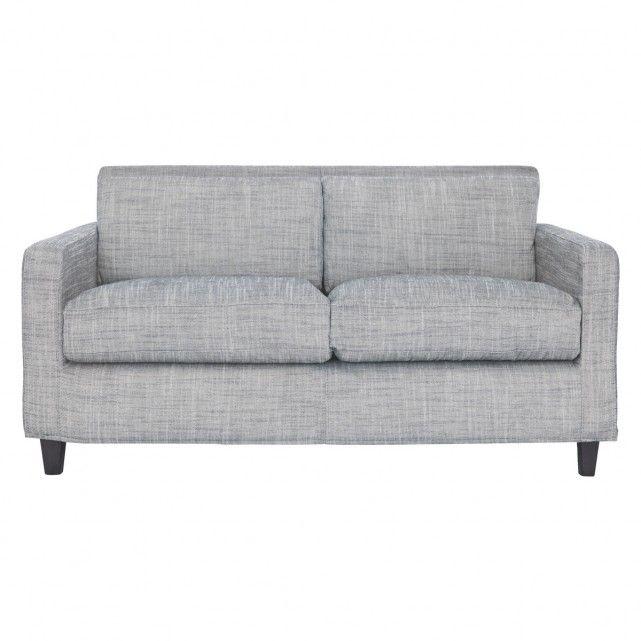 CHESTER Black & white Italian Woven fabric 2 seater sofa, dark stained feet
