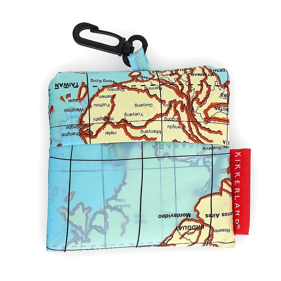 Kikkerland Design World Map Travel Laundry Bag In Blue World Map