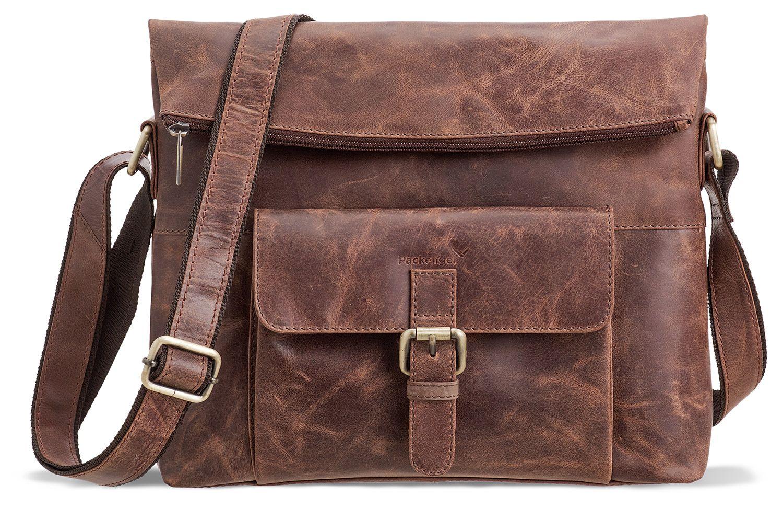 327552308a3d2 Packenger Ivar Umhängetasche mit Tablet-Fach Vintage-Braun ...
