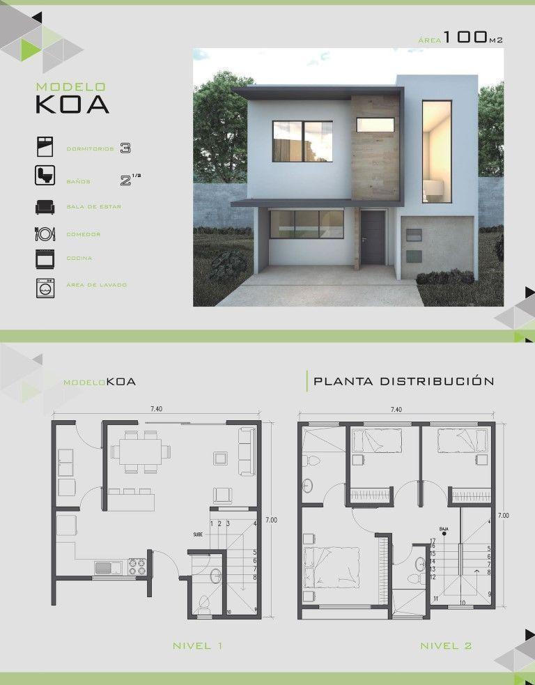 25 Plano de casa de dos pisos con fachada