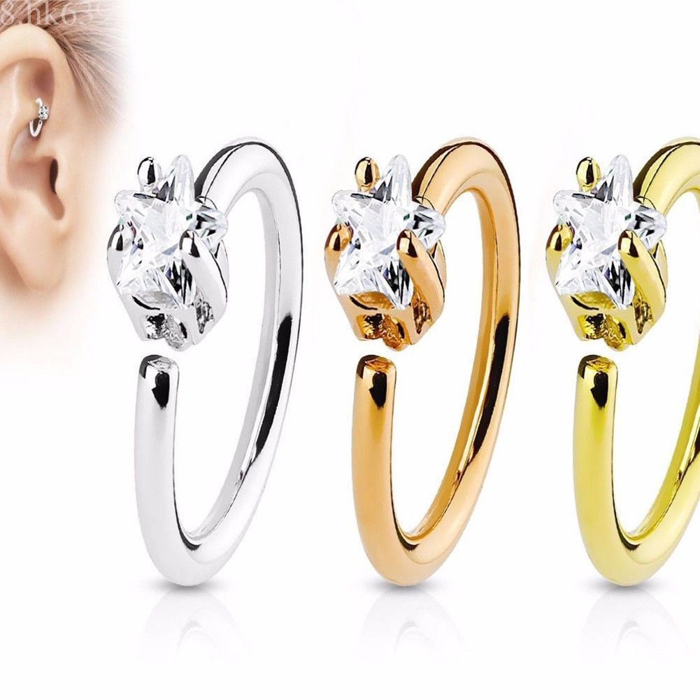 d3062721e Nose Hoop Ring Piercing Rook Helix Lip Ring Ear Nose Eyebrow Cartilage  Earrings