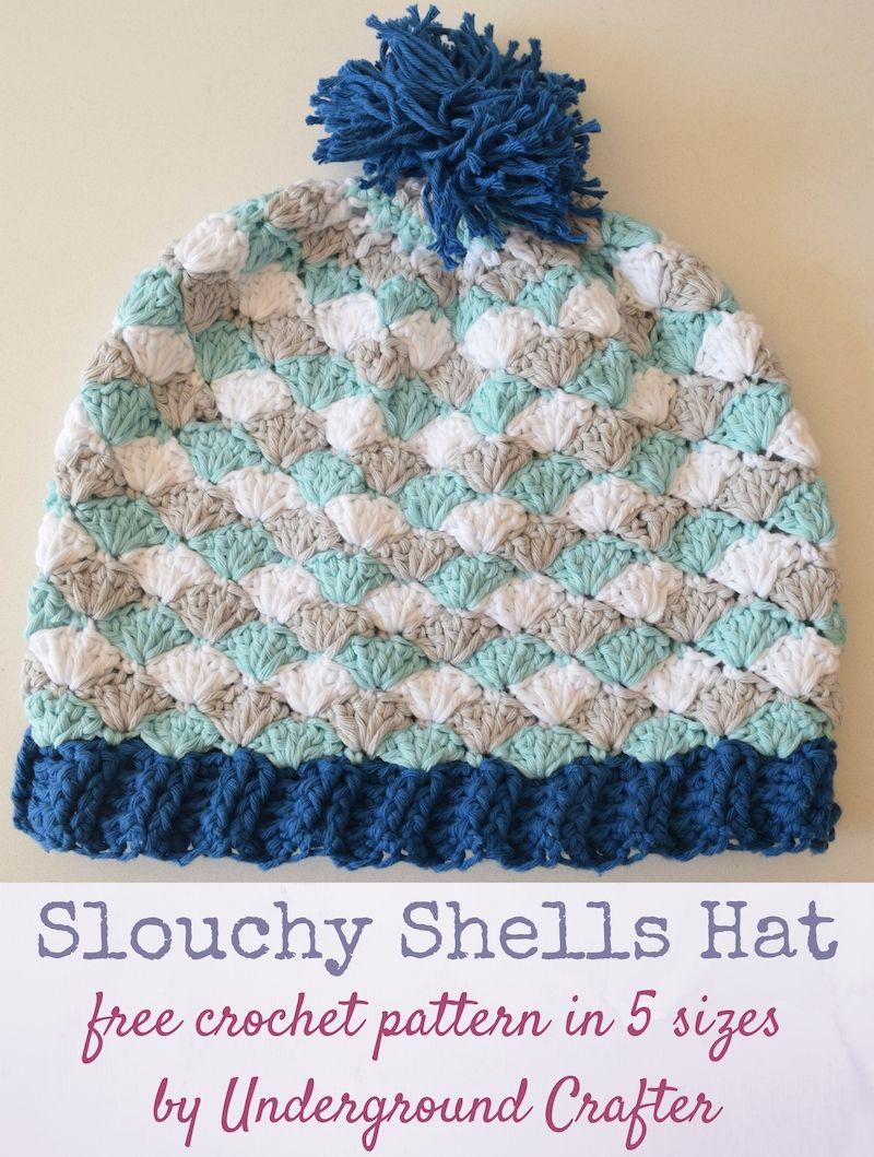 Crochet Pattern Slouchy Shells Hat In Paintbox Cotton Aran