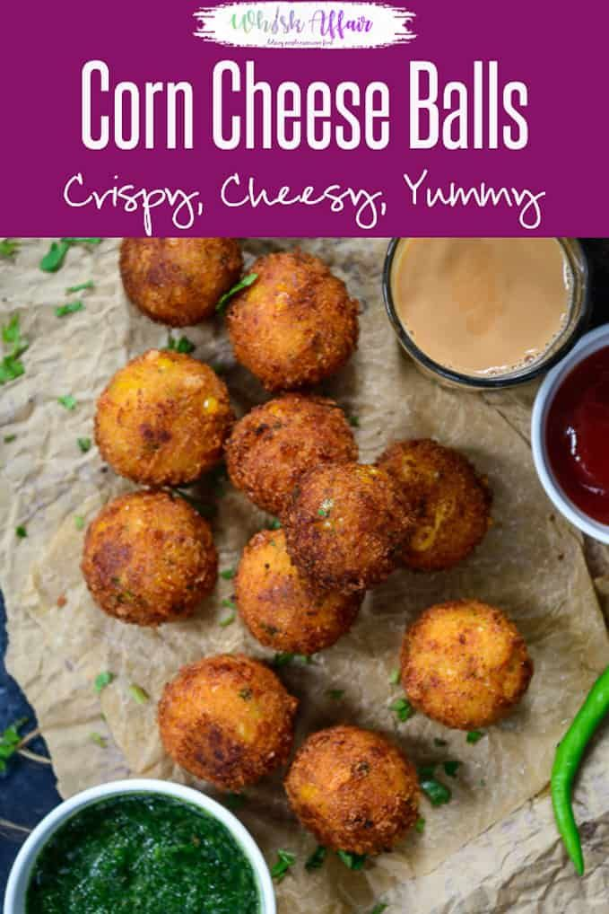 Corn Cheese Balls Make these super addictive Corn Cheese Balls for your next house party and see them disappear in seconds. These are easy to make, cheesy, crispy, freeze well and taste amazing. Here is how to make Corn Cheese Balls Recipe.