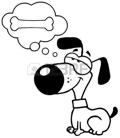 Perro soando con un hueso Foto de archivo  Dibujos animales