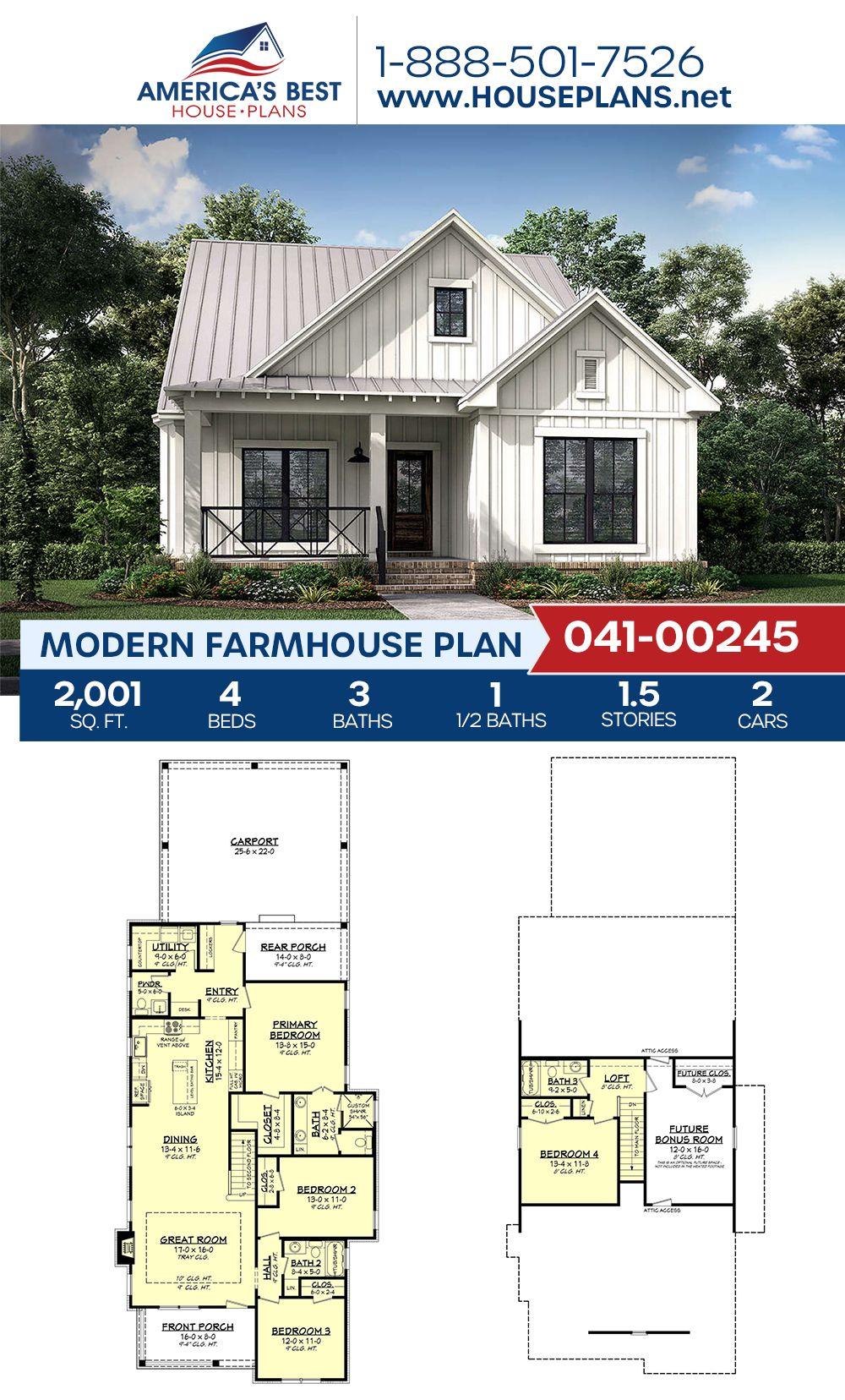 House Plan 041 00245 Modern Farmhouse Plan 2 001 Square Feet 4 Bedrooms 3 5 Bathrooms In 2021 Modern Farmhouse Plans Farmhouse Plans House Plans Farmhouse