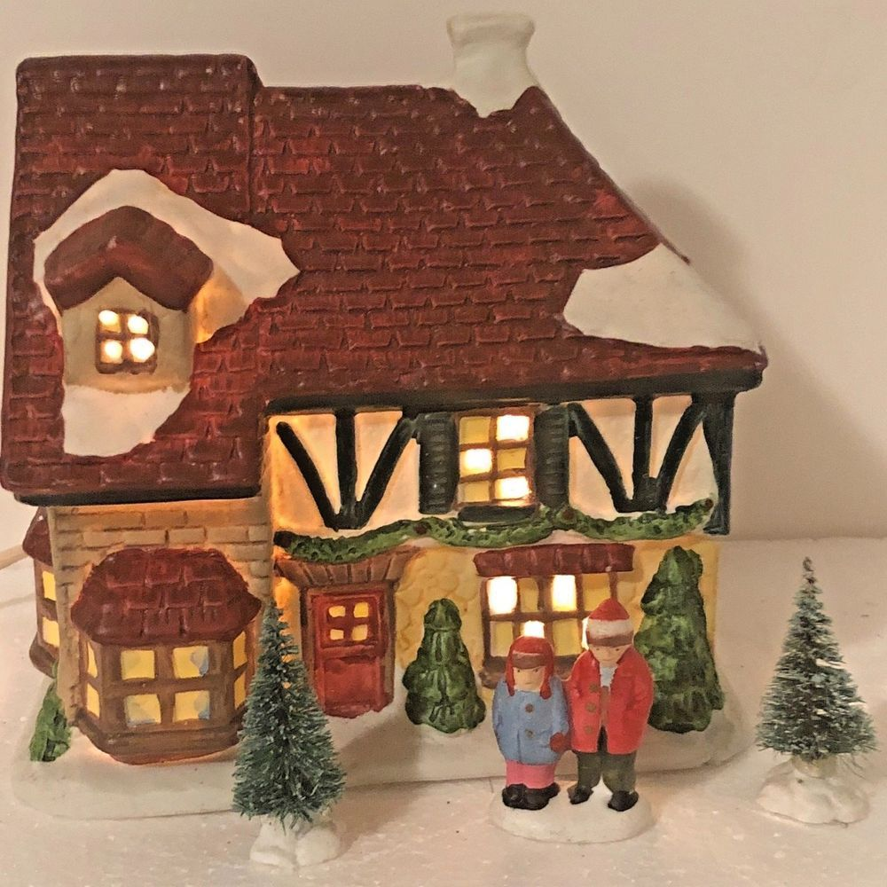 Christmas Village Porcelain Brick House Snow Lighted Couple Figurines Pine Trees Unbranded Christmas Display Christmas Decorations Christmas Village
