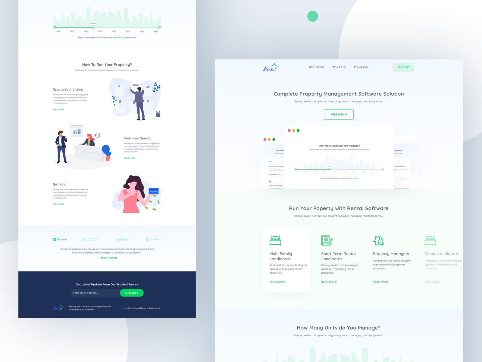 Landing Page Rent Management Software By Sabbirmc In 2020 Landing Page Web Design Management