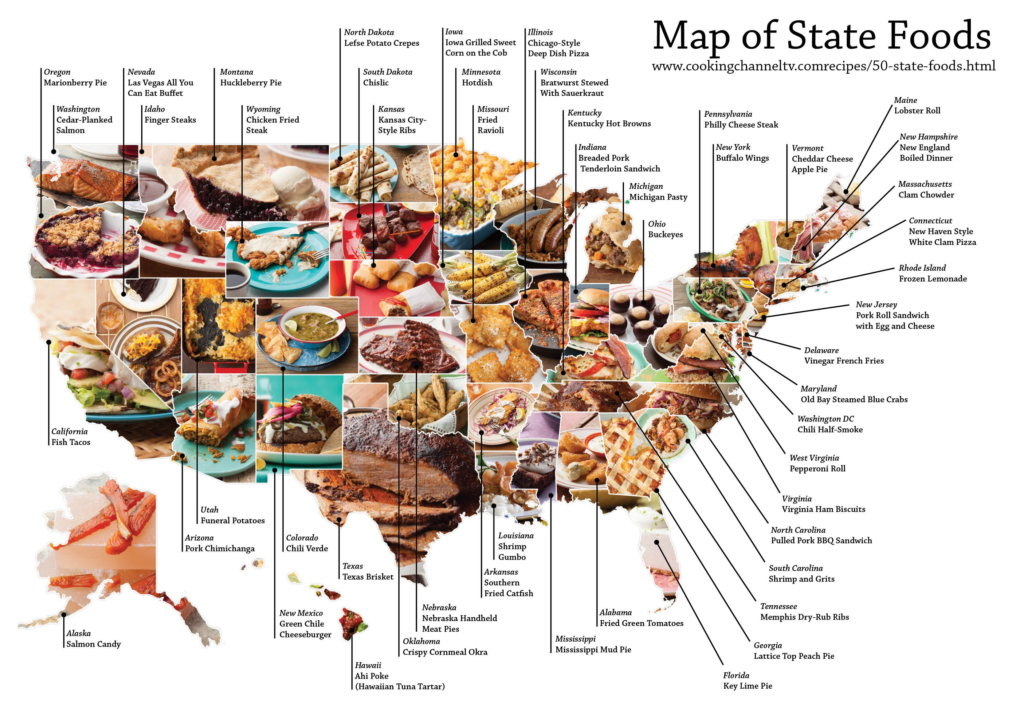 Map of each U.S. States Favorite Foods [3294x2304][OC] | Geography ...