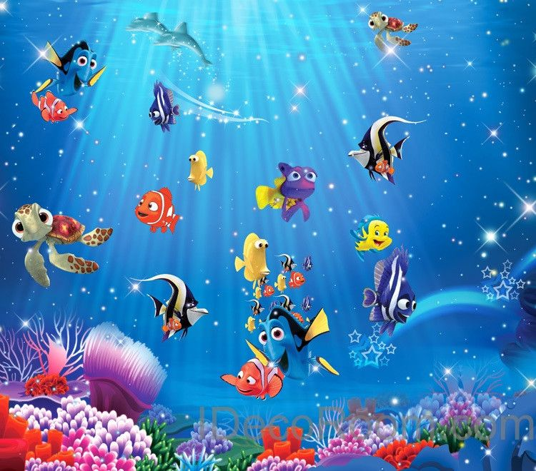 3d Fish Ocean Nemo Turtle Wallpaper Coral Dory Wall Paper Wall