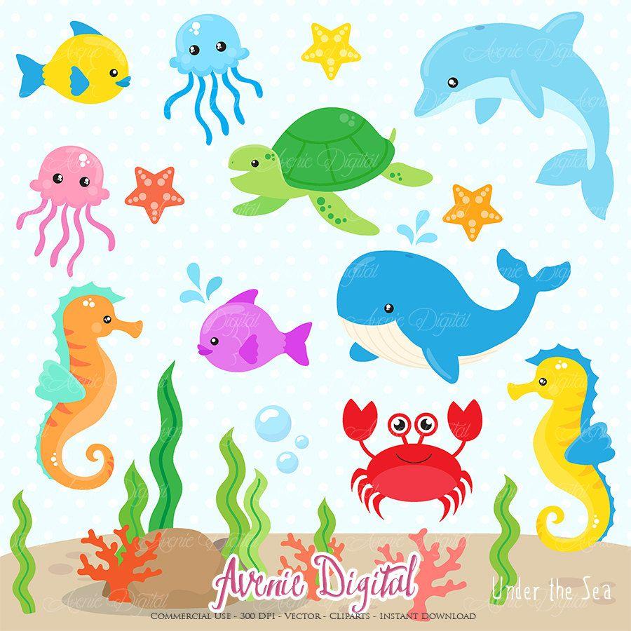 Under The Sea Clipart Scrapbook Printable Cute Sea Animals Etsy Sea Clipart Under The Sea Clipart Clip Art