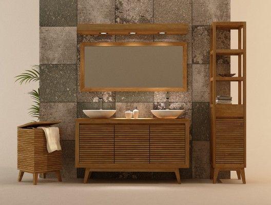 Ignisterra muebles de ba os en madera de teca muebles for Muebles de bano de madera rusticos
