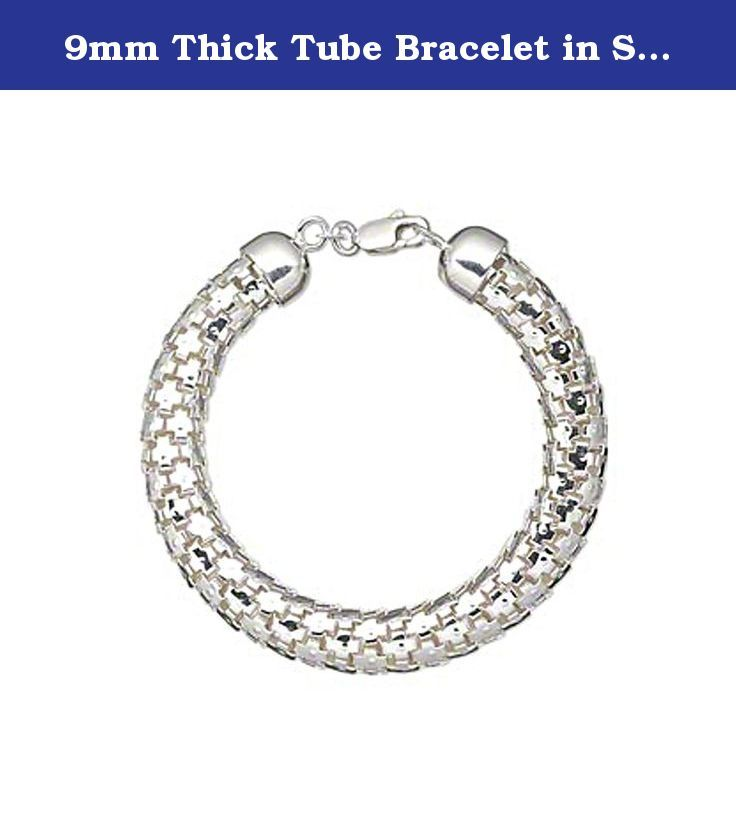 9mm Thick Tube Bracelet in Sterling Silver 6 Inches for Small