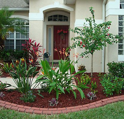 Landscape With Red Mulch Red Rubber Tire Mulch With Red Curbing