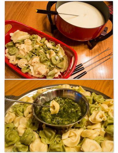 Tortellini Dippers W 4 Cheese Fondue Pesto Sauce