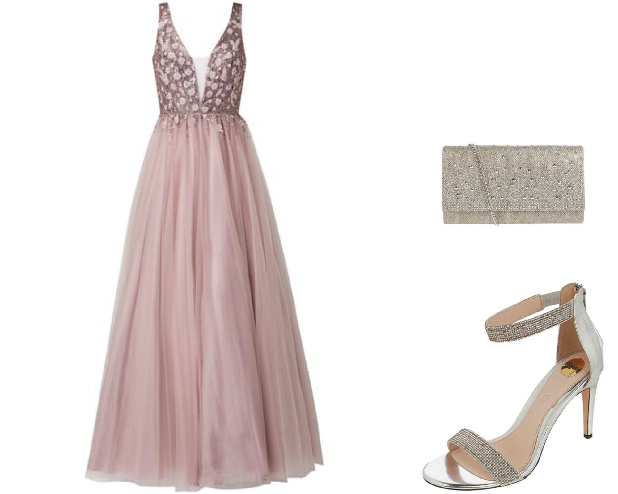 rosa-Kleid, Tüllkleid, Kleid-Hochzeitsgast, Ballkleid ...