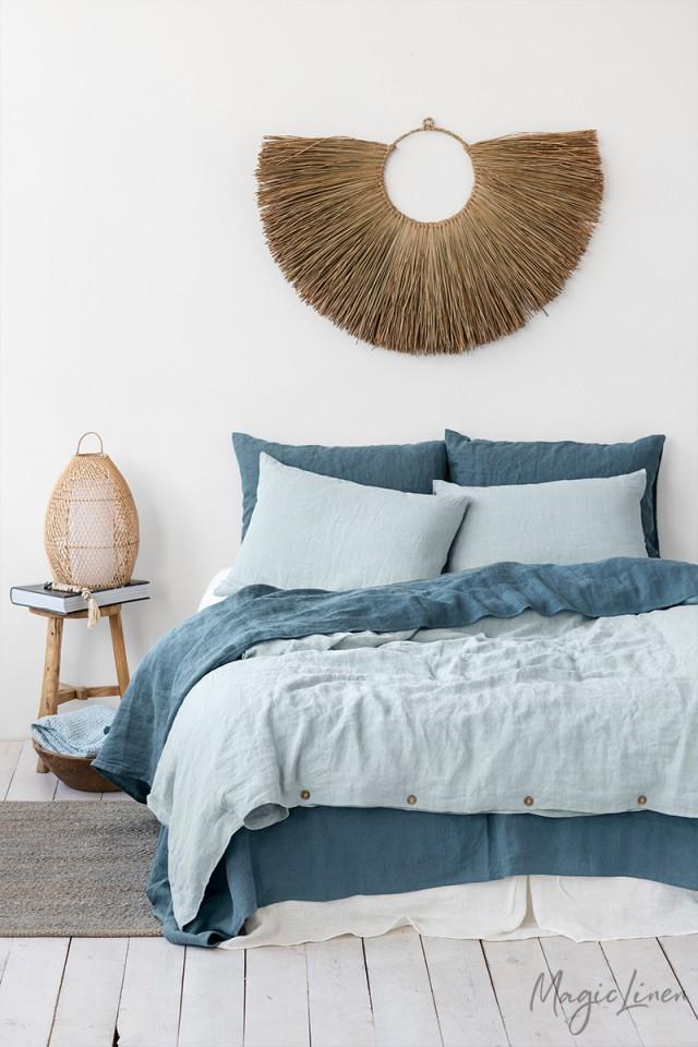 Dusty Blue Linen Pillow Cover Bed Linen Sets Blue Linen Bedding Blue Bedding