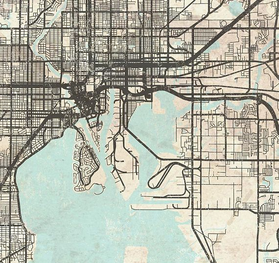 TAMPA FL Canvas Print Florida Tampa FL Vintage map Tampa City Map